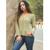 Sage Green Pleated Top