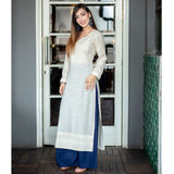 Self Embroidered Kurta and Contrast Palazzo Set