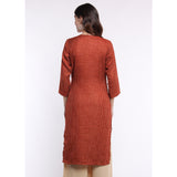 Cut Out Neckline Textured Kurta