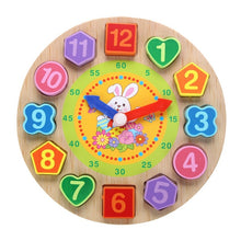 Load image into Gallery viewer, 4 Models Puzzles Threading Clock Figure Toys Animal Cartoon Educational Toy for Children Digital Wooden Clock Beaded