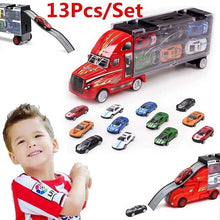 Load image into Gallery viewer, 1Set=13Pcs Transport Car Carrier Truck Boys Toy (includes Alloy Metal 12PcsCars+ 1PcsTruck) for Kids Children (Size: 1 Set, Colo