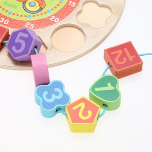 4 Models Puzzles Threading Clock Figure Toys Animal Cartoon Educational Toy for Children Digital Wooden Clock Beaded