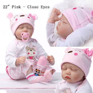 "NPK 11""/22'' Lifelike Vinyl Reborn Baby Dolls Handmade Realistic Newborn Baby Dolls Twin Dolls Gift for Infertility Mother"