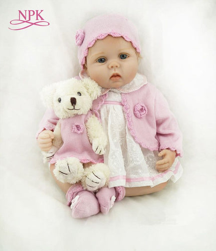 NPK 55CM Soft Silicone Newborn Baby Reborn Doll Babies Dolls 22inch Lifelike Real Bebes Doll for Children Birthday Gift