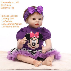 57cm Silicone Reborn Baby and accessories Alive Doll Handmade Lifelike Toddler Real Dolls Realistic Kids Reborn Babies Girl Toys