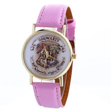 Load image into Gallery viewer, New harri potter Hogwarts Magic School Watch Hogwarts Magic Badges Leather clock for birthday party cosplay figure toys