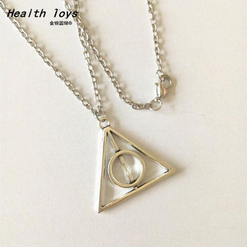 Hot Sale 2020 Luna Deathly Hallows Triangle Circular Vintage Long Necklaces action toy figure