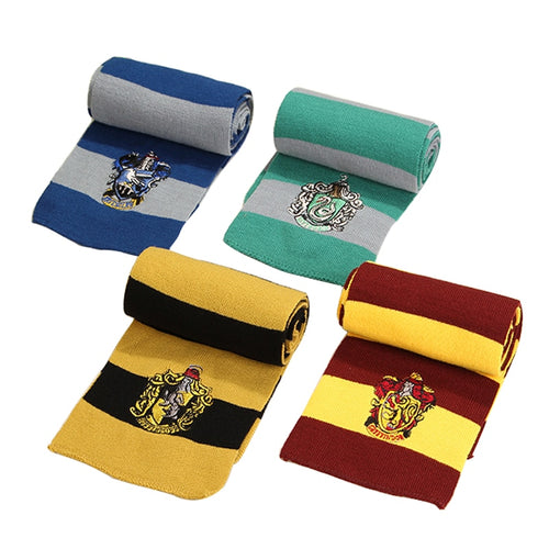 Child&Adults Gryffindo/Slytherin Potter Scarf College Style Cosplay Costume Harris Necktie Scarf and Hat Party Supplies