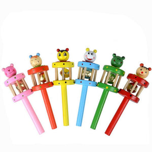 Baby Toy Cartoon Animal Wooden Handbell Musical Instrument Kids toy children Nose maker Wooden toy