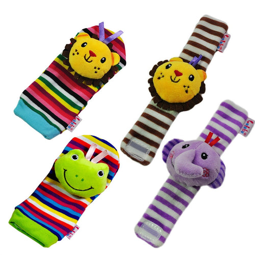 4PCS Soft Plush Lion Elephant Wrists Rattle and Lion Frog Foot Finder Socks Set Best Gift Early Educational Development Toy for Infant Baby Boys and Girls