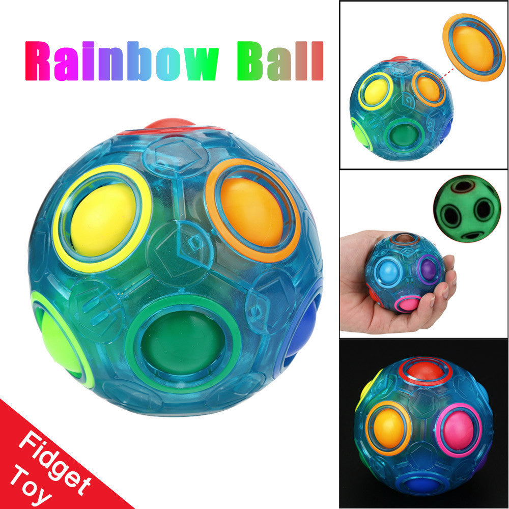Luminous Stress Reliever Magic Rainbow Ball Fun Cube Fidget Puzzle Education Toy