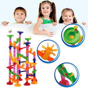 DIY Construction Maze Balls Track Plastic House Building Blocks Toys for Christmas Baby Kid's Toy Educational