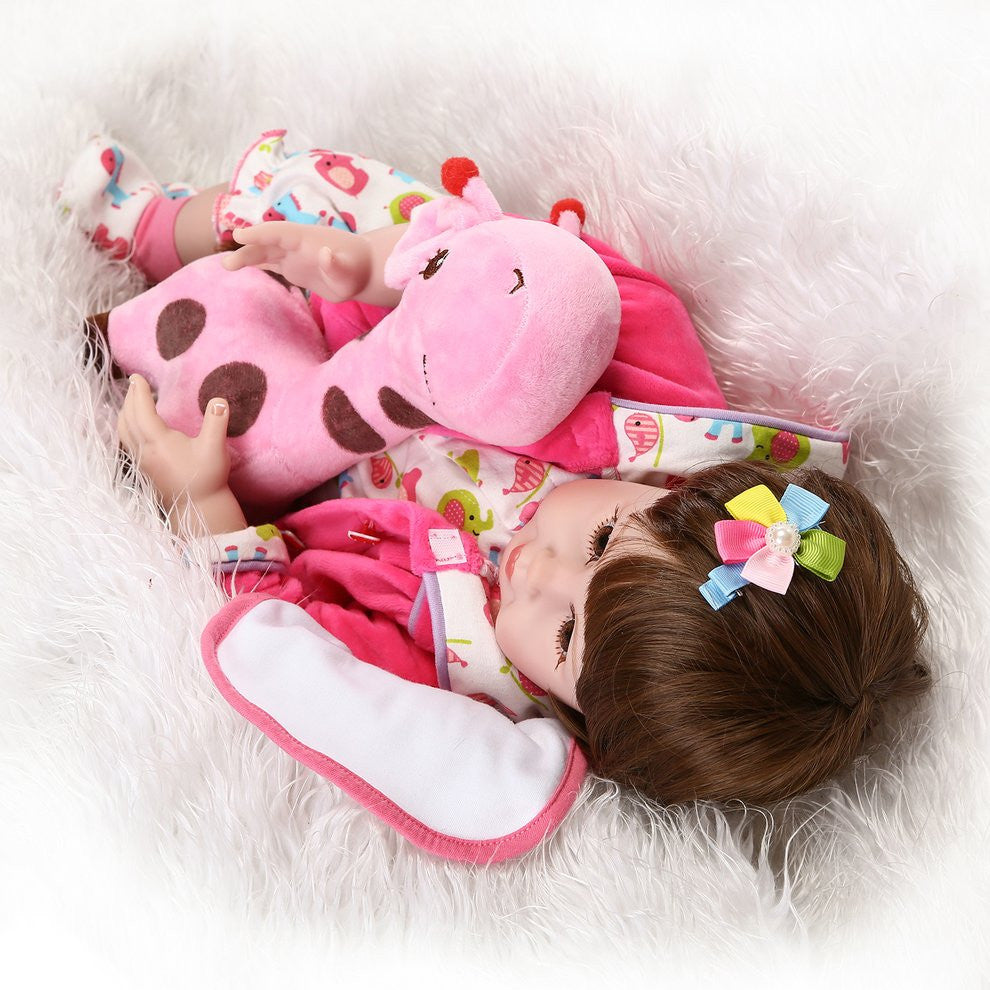 55cm 22 Inch Silicone Reborn Baby Simulation Doll Toy Newborn Lifelike Girl Toy Gift of Birthday Princess Toy Doll