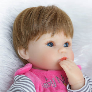 40cm Silicone Reborn Baby Simulation Doll Toy Newborn Magnetic Mouth Lifelike Girl Toy Gift of Birthday Princess Toy Doll