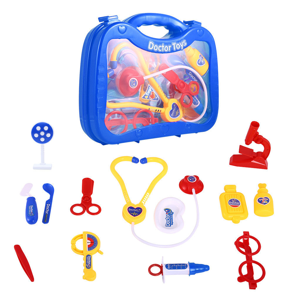 14 Pcs Doctor Nurse Medical Kit Toys Children Role-play Doctor Plastic Toy with Carrying Case Color:Blue