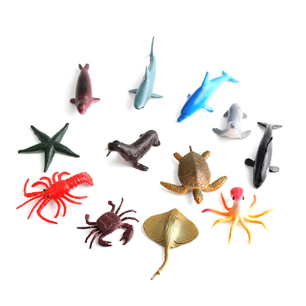 12pcs Plastic Sea Animal Figure Set Realistic Animal Toys Mini Sea Animal Party Favors For Kids Toddlers (Mix Model)