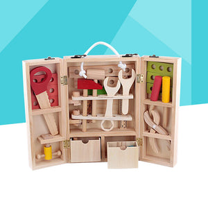 Wooden Simulation Toolbox Set Toys Pretend Play Repair Tools Kit Educatinal Toy for Kids Children
