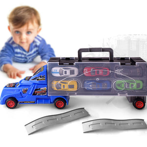 1:18 Children Educational Toy Truck Toy With 12 Cars Portable Container Car Gift