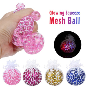 Squeeze Mesh Ball Stress Relief toy LED Glowing Grape Toy Anxiety Relief Stress Ball