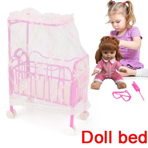 Doll Bed Doll Accessories Set Plastic Toy Bed With Mosquito Net