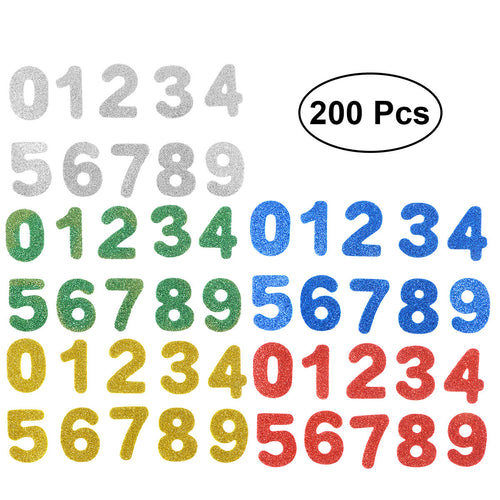 200pcs Pasters Numbers 0-9 Self-adhesive Glittering Backing Nonwoven EVA Handmade Crafts Stickers for Kids Children