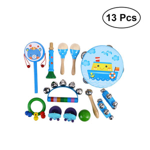 13pcs Kids Musical Instruments Percussion Toy Rhythm Band Set Preschool Educational Musical Toys