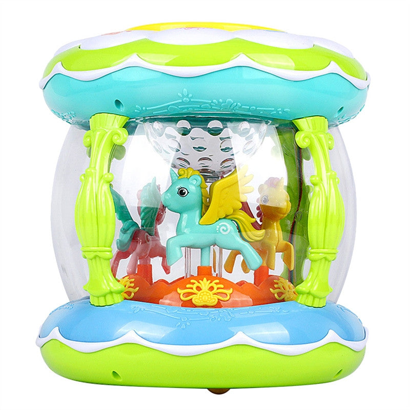 Early Learning Toys Merry-Go-Round Drum Baby Music and  Light Toy Carousel Music Box