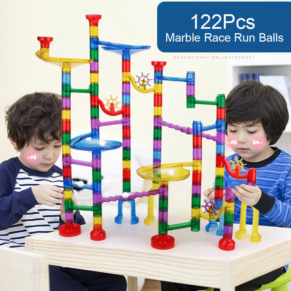 80Pcs Marble Run Toy Marble Game Educational Construction Building Blocks Toy for Kids
