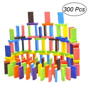 300 Pcs Colorful Wooden Domino Blocks Set Racing Toy Game Building and Stacking Toy Blocks