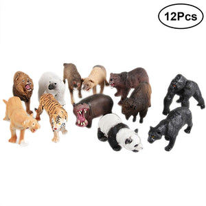 12 Pcs Wildlife Animal Action Toy Plastic Animals Toy Realistic Animals Action Toys