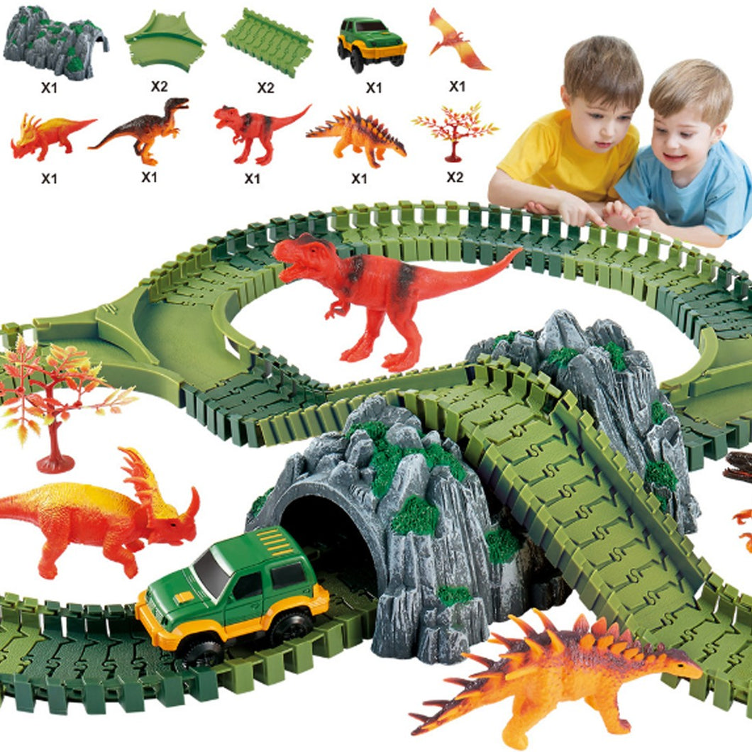 157Pcs Plastic Dinosaur Toys DIY Race Car Track Set Educational Toys for Children - 328 Type