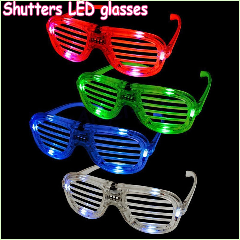 10pcs/lot Fashion Shutters Shape LED Flashing Glasses Light up kids toys christmas Party Supplies glowing glasses