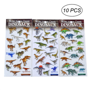 10pcs 3D Dinosaur Stickers Vivid Puffy Funny Decorative for Kids Boys and Girls