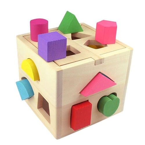 1 Set Baby Wooden Blocks Box Toys Shape Matching Toys 13 Holes Intelligence Box Children's Educational Toys