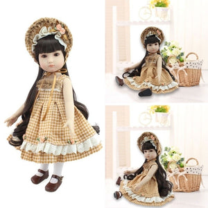 45cm Classical Retro Plaid Skirt Baby Reborn Doll Children Toys Gift Doll Home Decorating Simulation Dolls