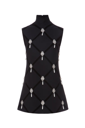 Crystal Drop Embellished Mini Dress