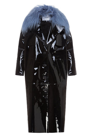 Patent Leather Coat with Fur