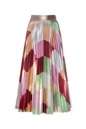 Multicolor Patchwork Plissé Skirt
