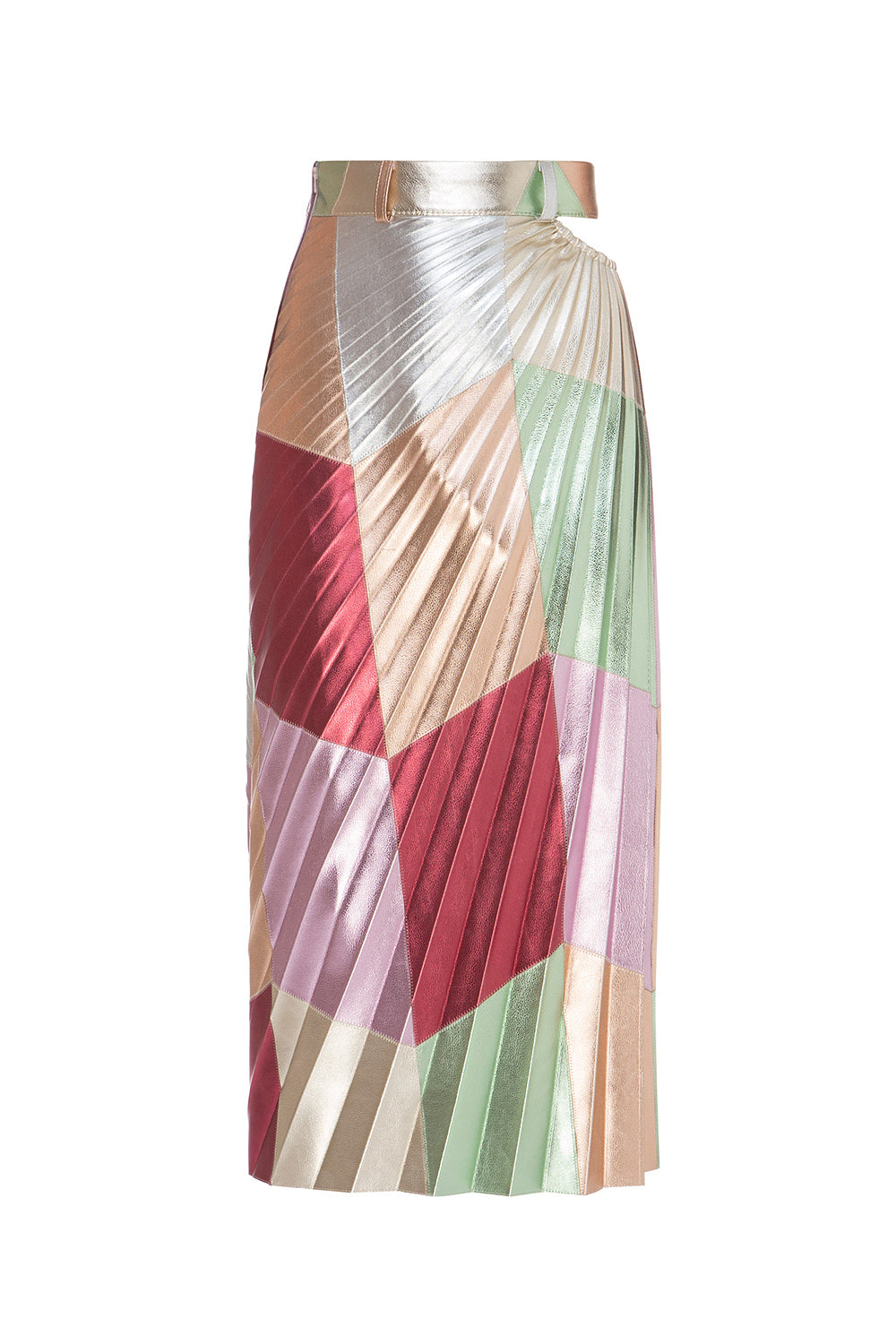 Multicolor Cutout Patchwork Plissé Skirt
