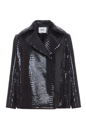 Black Neoprene Croceffect Cropped Jacket