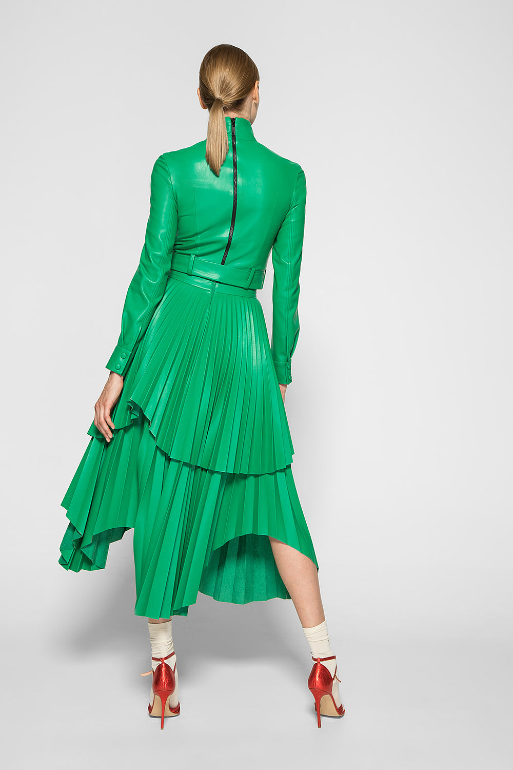 Green PLEATED MIDI SKIRT