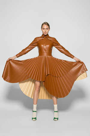 SCULPTURAL MIDI PLEATED DRESS