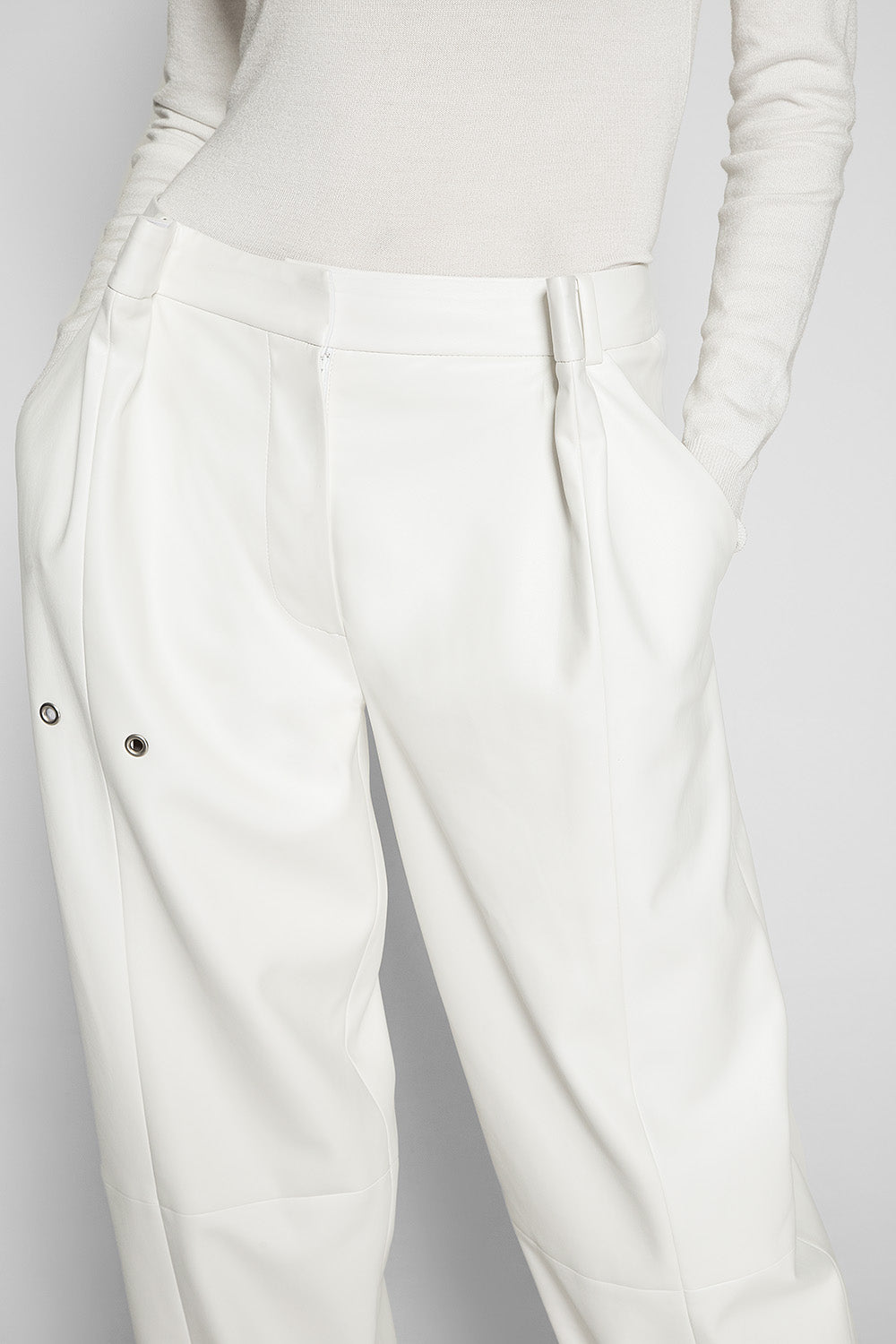 FAUX LEATHER WIDE TROUSERS