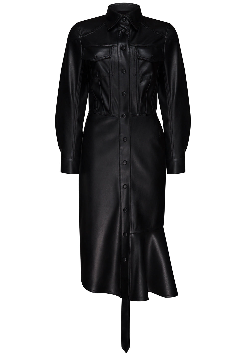 SHIRT DRESS WITH PLEATED BOTTOM