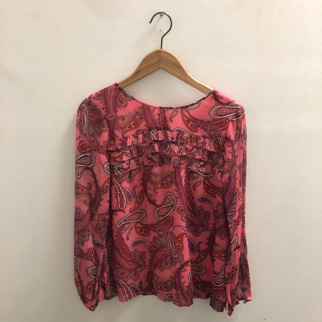 J Crew Red Blouse Size 2
