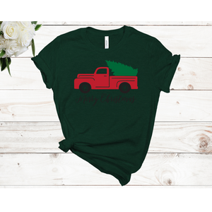 Merry Christmas Truck Unisex Short Sleeve T-shirt (4 colors)