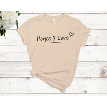 Load image into Gallery viewer, Peace & Love Unisex Short Sleeve T-shirt (Available in 4 colors)