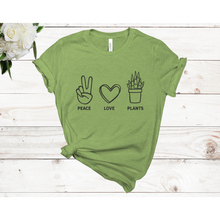 Load image into Gallery viewer, Peace Love Plants Unisex Short Sleeve T-shirt (Available in 3 colors)