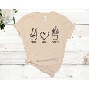 Peace Love Plants Unisex Short Sleeve T-shirt (Available in 3 colors)