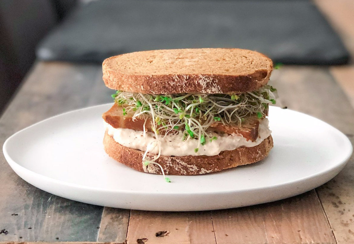 Image of the Cannellini Miso Mash Sandwhich on Gluten Free Sourdough Bread overflowing with sprouts on wood dining table